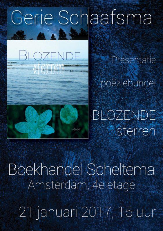 Blozende Sterren Gerie Schaafsma poëziebundel boekhandel scheltema amsterdam presentatie 21 januari 2017 boekbinderij seugling